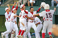 WILLIAMSPORT, PA - AUGUST 26. Noriatsu Osaka #10 of the International Team from Japan celebrates with teammates after hitting a home run that won the game against the USA team from the Southeast during the Little League World Series Championship game at Lamade Stadium on Sunday, August 26, 2012 in Williamsport, PA. (Photo by Hunter Martin/MLB Photos via Getty Images) ***Local Caption*** Noriatsu Osaka