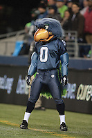 Dec 1, 2011: Seattle mascot Blitz against Philadelphia.  Seattle defeated Philadelphia 31-14 at Century Link Field in Seattle, Washington.