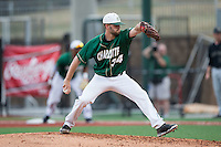 Charlotte 49ers relief pitcher Philip Perry (34) in action against the Wake Forest Demon Deacons at Hayes Stadium on March 16, 2016 in Charlotte, North Carolina.  The 49ers defeated the Demon Deacons 7-6.  (Brian Westerholt/Four Seam Images)