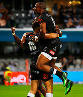 Makazole Mapimpi with Curwin Bosch of the Cell C Sharks after his try during the Super rugby match between the Cell C Sharks and the Emirates Lions at Jonsson Kings Park Stadium in Durban, South Africa 30 March 2019. Photo: Steve Haag / stevehaagsports.com