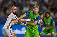 Carson, CA - Saturday July 29, 2017: Jelle Van Damme, Chad Marshall during a Major League Soccer (MLS) game between the Los Angeles Galaxy and the Seattle Sounders FC at StubHub Center.