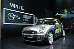 12 January 2009: The electric-powered MINI E at the North American International Auto Show in Detroit Michigan USA.