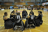 The Wheel Blacks huddle before the 2017 International Wheelchair Rugby Federation Asia-Oceania Zone Championships tournament bronze final match between the New Zealand Wheel Blacks and Korea at ASB Stadium in Auckland, New Zealand on Thursday, 31 August 2017. Photo: Dave Lintott / lintottphoto.co.nz