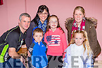 Paddy, Ger, Noreen, and Bethany Moynihan with triona and Abbey Mai Scannell enjoying the Marian Players Babes in the Woods Panto in Rathmore Community Hall on Saturday night