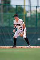 GCL Pirates third baseman Patrick Dorrian (50) during a game against the GCL Tigers West on August 13, 2018 at Pirate City Complex in Bradenton, Florida.  GCL Tigers West defeated GCL Pirates 5-1.  (Mike Janes/Four Seam Images)