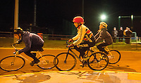 31 MAR 2015 - IPSWICH, GBR - Charlie-Jane Herbert follows Harrison Bacon (left) into a corner during an Ipswich Cycle Speedway Club training session at Whitton Sports and Community Centre in Ipswich, Great Britain followed by Alex Harvey (PHOTO COPYRIGHT © 2015 NIGEL FARROW, ALL RIGHTS RESERVED)