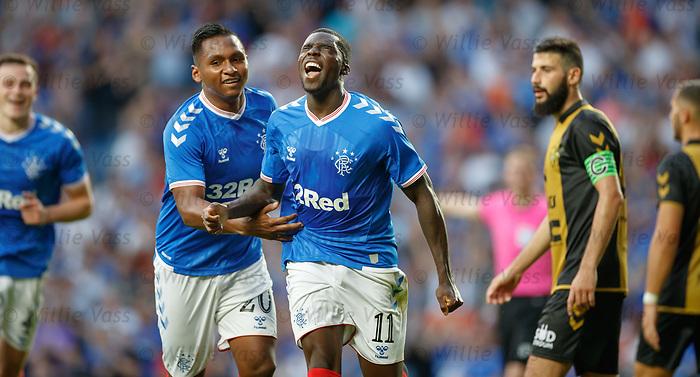 25.07.2019 Rangers v Progres Niederkorn: Sheyi Ojo celebrates his goal with Alfredo Morelos