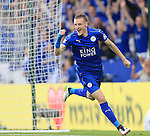 Leicester's Jamie Vardy celebrates scoring his sides opening goal during the Barclays Premier League match at the King Power Stadium.  Photo credit should read: David Klein/Sportimage