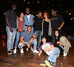 "Carvens Lissaint, Lauren Boyd, Deon'te Goodman, Tré Smith, Terrance Spencer, Christina Glur, Thayne Jasperson, James Monroe Iglehart and Gabriella Sorrentino during the Q & A before The Rockefeller Foundation and The Gilder Lehrman Institute of American History sponsored High School student #eduHAM matinee performance of ""Hamilton"" at the Richard Rodgers Theatre on June 5, 2019 in New York City."