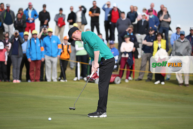 Putting on the 13th Gavin Moynihan (IRL)  during Sunday morning Foursome matches of The Walker Cup 2015 played at Royal Lytham and St Anne's, Lytham St Anne's, Lancashire, England. 13/09/2015. Picture: Golffile | David Lloyd<br /> <br /> All photos usage must carry mandatory copyright credit (&copy; Golffile | David Lloyd)