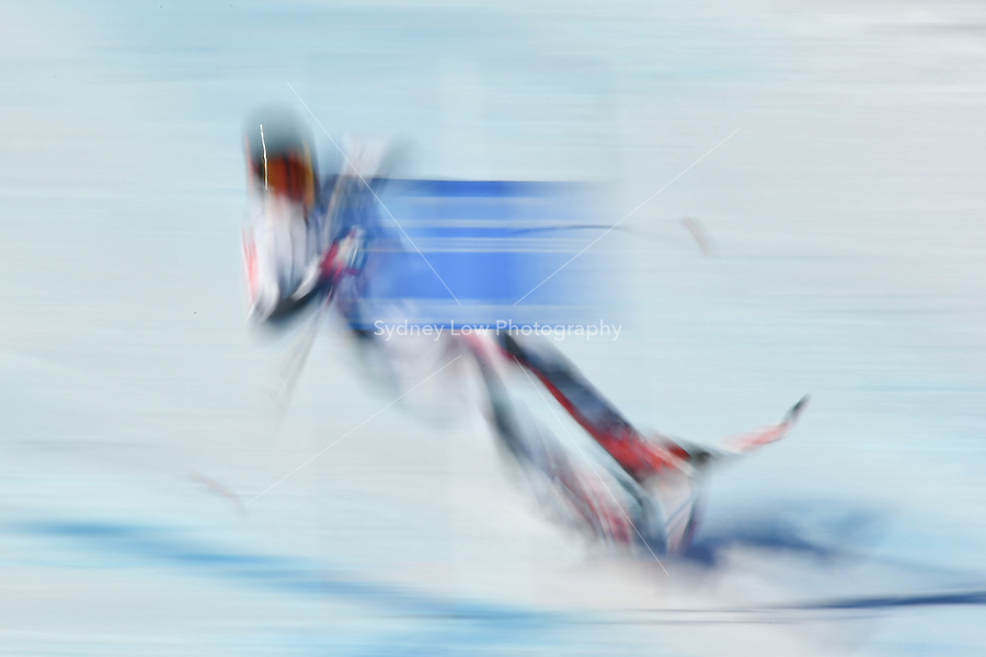 February 14, 2017: Ivan KUZNETSOV of Russia crashes into a gate at the Alpine Team event at the FIS Alpine World Ski Championships at St Moritz, Switzerland. Photo Sydney Low/Asterisk Images