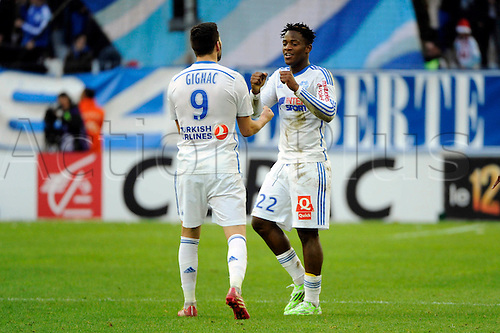 21.12.2014. Marseille, France. French League 1 football. Marseille versis Lille.  Michy BATSHUAYI celebrates his goal