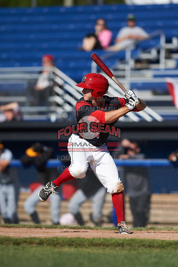 Batavia Muckdogs left fielder Mathew Brooks (46) at bat during a game against the West Virginia Black Bears on June 25, 2017 at Dwyer Stadium in Batavia, New York.  Batavia defeated West Virginia 4-1 in nine innings of a scheduled seven inning game.  (Mike Janes/Four Seam Images)
