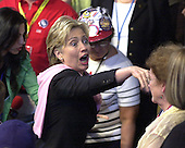 Boston, MA - July 29, 2004 -- United States Senator Hillary Rodham Clinton (Democrat of New York) acknowledges supporters as she visits the New York delegation in the FleetCenter at the 2004 Democratic National Convention in Boston, Massachusetts on July 28, 2004..Credit: Ron Sachs / CNP