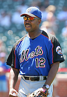 New York Mets manager Willie Randolph #12 during batting practice before a game against the Chicago Cubs at Wrigley Field on July 15, 2006 in Chicago, Illinois.  (Mike Janes/Four Seam Images)