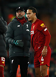 Jurgen Klopp manager of Liverpool hugs Virgil van Dijk of Liverpool during the Premier League match at Anfield, Liverpool. Picture date: 30th November 2019. Picture credit should read: Simon Bellis/Sportimage