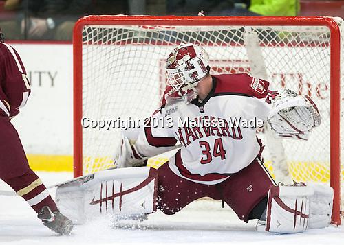 Steve Michalek (Harvard - 34) - The visiting Boston College Eagles defeated the Harvard University Crimson 5-1 on Wednesday, November 20, 2013, at Bright-Landry Hockey Center in Cambridge, Massachusetts.