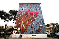 Titolo: El renacer,  Artista Liqen<br /> Title The rebirth, Artist Liqen<br /> Liqen rappresenta in questo mural, un enorme aratro intento ad arare la fitta', estirpando i resti dell'era industriale, per scoprire metri cubi di terra fertile.<br /> This painting shows an enormous plough, plowing the city, extirpating the remains of the Industrial Age, and uncovering meters of fertile land<br /> Roma 17-11-2015 Street Art a Roma. In vari quartieri di Roma e' fiorita la Street Art, con splendidi murales che hanno lo scopo di raccontare delle storie della citta', di commemorare dei momenti importanti, o semplicemente di interpretarla.<br /> Street Art in Rome. Very important writers  painted Murales in various districts of Rome to tell stories about the city, to commemorate important moments, to embellish the quarter or simply to portray it.  <br /> Photo Samantha Zucchi Insidefoto