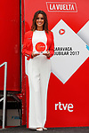 Podium girl ready to hand out the prizes on stage at the end of Stage 10 of the 2017 La Vuelta, running 164.8km from Caravaca A&ntilde;o Jubilar 2017 to ElPozo Alimentaci&oacute;n, Spain. 29th August 2017.<br /> Picture: Unipublic/&copy;photogomezsport | Cyclefile<br /> <br /> <br /> All photos usage must carry mandatory copyright credit (&copy; Cyclefile | Unipublic/&copy;photogomezsport)