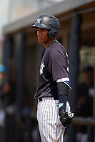 New York Yankees Anthony Garcia (55) on deck during a Florida Instructional League game against the Pittsburgh Pirates on September 25, 2018 at Yankee Complex in Tampa, Florida.  (Mike Janes/Four Seam Images)