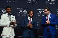 New York, NY - December 9, 2017: The 2017 Heisman Trophy finalists share a laugh at a media conference at the New York Marriott Marquis in New York City December 9, 2017. (L-R) Lamar Jackson (Louisville), Bryce Love (Stanford), Baker Mayfileld (Oklahoma).   (Photo by Don Baxter/Media Images International)