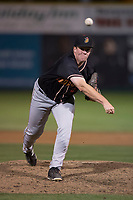 Modesto Nuts relief pitcher Seth Elledge (43) delivers a pitch during a California League game against the San Jose Giants at San Jose Municipal Stadium on May 15, 2018 in San Jose, California. Modesto defeated San Jose 7-5. (Zachary Lucy/Four Seam Images)