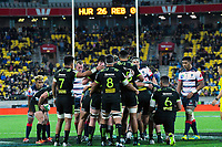 A scrum packs during the Super Rugby match between the Hurricanes and Rebels at Westpac Stadium in Wellington, New Zealand on Saturday, 4 May 2019. Photo: Dave Lintott / lintottphoto.co.nz