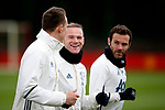 Wayne Rooney of Manchester United shares a joke with Phil Jones during the Manchester United open training session at the Carrington Training Centre, Manchester. Picture date: May 19th 2017. <br /> Pic credit should read: Matt McNulty/Sportimage