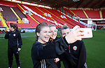 Sheffield United Ladies Ruby Hall (Left) takes a selfie photo during the FA Women's Cup First Round match at Bramall Lane Stadium, Sheffield. Picture date: December 4th, 2016. Pic Clint Hughes/Sportimage