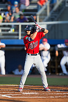 Mark Contreras (5) of the Elizabethton Twins at bat against the Danville Braves at American Legion Post 325 Field on July 1, 2017 in Danville, Virginia.  The Twins defeated the Braves 7-4.  (Brian Westerholt/Four Seam Images)