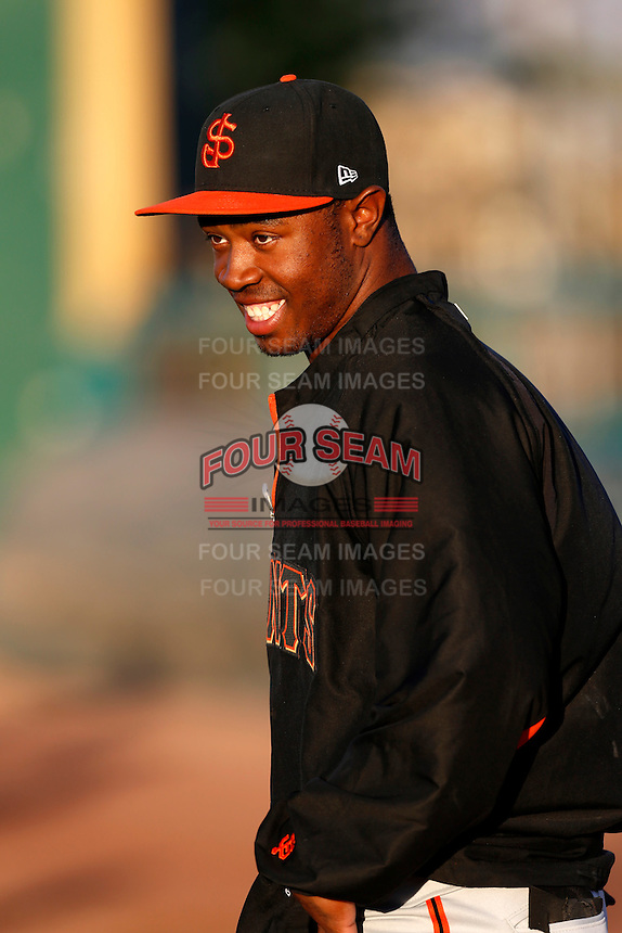 Chris Lofton #1 of the San Jose Giants before a game against the Inland Empire 66'ers on April 18, 2013 at San Manuel Stadium in San Bernardino, California. (Larry Goren/Four Seam Images)