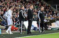 Pictured L-R: Swansea new signing Nelson Oliveira, Swansea coach Kristian O'Leary, Swansea manager Garry Monk and West Ham manager Neil McDonald Saturday 10 January 2015<br />