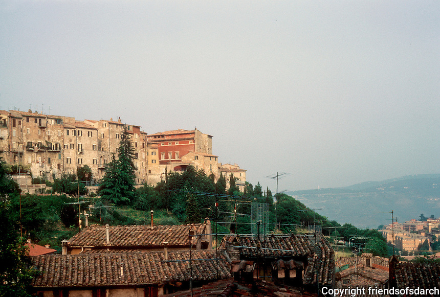 Italy: Perugia--The Upper and Lower Cities viewed from Etruscan Gate. Photo '83.