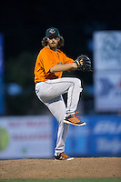 Augusta GreenJackets relief pitcher Caleb Smith (33) in action against the Kannapolis Intimidators at Intimidators Stadium on May 30, 2016 in Kannapolis, North Carolina.  The GreenJackets defeated the Intimidators 5-3.  (Brian Westerholt/Four Seam Images)