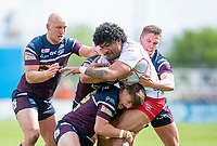 Picture by Allan McKenzie/SWpix.com - 29/04/2018 - Rugby League - Betfred Super League - Hull KR v Leeds Rhinos - KC Lightstream Stadium, Hull, England - Hull KR's Mose Masoe is tackled by Leeds's Carl Ablett, Ash Handley and Matt Parcell.