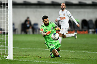 30th July 2020; Bankwest Stadium, Parramatta, New South Wales, Australia; A League Football, Adelaide United versus Perth Glory; Goalie Paul Izzo of Adelaide United saves a shot at his post