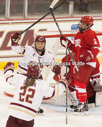 Kenzie Kent (BC - 12), Haley Skarupa (BC - 22) - The Boston College Eagles defeated the visiting Cornell University Big Red 6-2 on Friday, October 24, 2014, at Kelley Rink in Conte Forum in Chestnut Hill, Massachusetts.