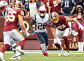 New England Patriots running back Sony Michel (26) carries the ball in the first quarter against the Washington Redskins at FedEx Field in Landover, Maryland on Sunday, October 6, 2019.<br /> Credit: Ron Sachs / CNP