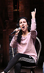 """Gabriella Sorrentino during the Q & A before The Rockefeller Foundation and The Gilder Lehrman Institute of American History sponsored High School student #EduHam matinee performance of """"Hamilton"""" at the Richard Rodgers Theatre on 4/03/2019 in New York City."""
