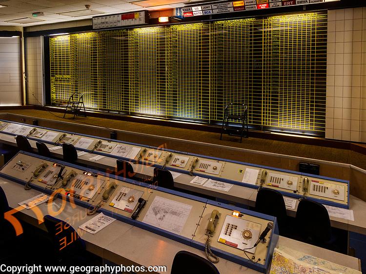 Control room war command room inside Bentwaters Cold War museum, Suffolk, England, UK