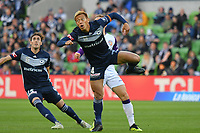 Melbourne, 28 October 2018 - Keisuke Honda of Melbourne Victory captains his team and walks onto the field in the round two match of the A-League between Melbourne Victory and Perth Glory at AAMI Park, Melbourne, Australia. Victory lost 3-2