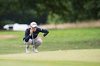 Scott Henry lines up his putt on the 17th during the final round of the  Bridgestone Challenge, Louto Hoo Hotel, Bedfordshire, England. 09/09/2018.<br /> Picture  / Golffile.ie<br /> <br /> All photo usage must carry mandatory copyright credit (&copy; Golffile | )