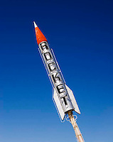 Rocket sign on a building in Alomogordo, New Mexico.