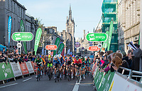 Picture by Allan McKenzie/SWpix.com - 17/05/2018 - Cycling - OVO Energy Tour Series Mens Race Round 3:Aberdeen - The peloton passes through Aberdeen up the finishing straight under the gantry, OVO Energy, Adnams, Eisberg, Festina, crowd, fans, branding.