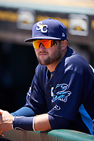 Charlotte Stone Crabs Josh Rapacz in the dugout before a game against the Bradenton Marauders on April 9, 2017 at LECOM Park in Bradenton, Florida.  Bradenton defeated Charlotte 5-0.  (Mike Janes/Four Seam Images)