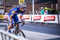 later race winner Jannik Steimle (GER/Deceuninck Quick Step)at the pre race team presentation<br /> <br /> 104th Kampioenschap van Vlaanderen 2019<br /> One Day Race: Koolskamp > Koolskamp 186km (UCI 1.1)<br /> ©kramon