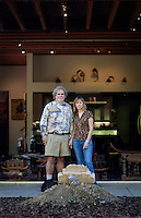 Los Angeles, California, November 14, 2009 - Portrait of Ernie and Diane Wolfe in the backyard of their home, which is based on a Quonset hut. The Wolfe's own the Ernie Wolfe Gallery and are the most reknowned African at dealers in the country. ..CREDIT: Daryl Peveto/LUCEO for The Wall Street Journal.Homefront - Ernie Wolfe #1348.