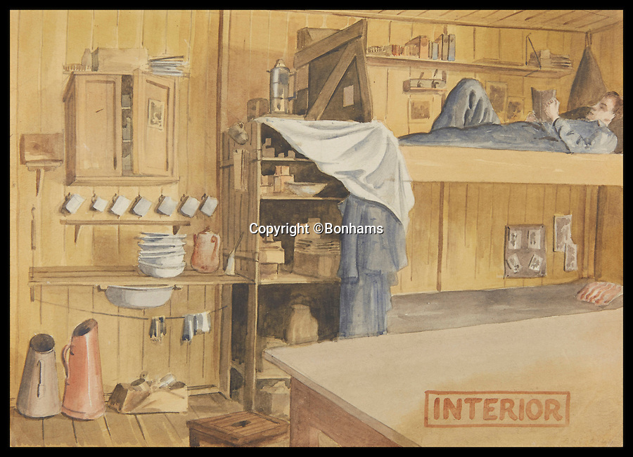 BNPS.co.uk (01202 558833)<br /> Pic: Bonhams/BNPS<br /> <br /> Archibald Sulston's depiction of life in one of huts at Stalag Luft III.<br /> <br /> Tell-tale illustrations of British airmen plotting the famous Great Escape drawn by a prisoner of war at huge risk have come to light.<br /> <br /> The watercolour paintings were kept in a wartime scrapbook by Flight Lieutenant Archibald Sulston, a keen artist who drew and painted life in the PoW - including obvious evidence of a tunnel being dug.<br /> <br /> The album is being sold at auction for &pound;20,000.