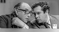 Roy Jenkins, MP, with Bernard Doyle, chief executive, on platform at SDP Conference, Cardiff, Wales, UK, October, 1982, 198209000191<br /><br />Copyright Image from Victor Patterson, 54 Dorchester Park, <br />Belfast, UK, BT9 6RJ<br /><br />t1: +44 28 9066 1296 (from Rep of Ireland 048 9066 1296)<br />t2: +44 28 9002 2446 (from Rep of Ireland 048 9002 2446)<br />m: +44 7802 353836<br /><br />victorpatterson@me.com<br />www.victorpatterson.com<br /><br />Please see my Terms and Conditions of Use at VICTORPATTERSON.COM. It is IMPORTANT that you familiarise yourself with them.<br /><br />Images used on the Internet must be visibly watermarked i.e. &copy;VICTORPATTERSON.COM within the body of the image and copyright metadata must not be deleted. Images used on the Internet have a size restriction of 4kbs and are chargeable at the then current NUJ rates.<br /><br />This image is only available for the use of the download recipient i.e. television station, newspaper, magazine, book publisher, etc, and must not be passed on to any third party. It is also downloaded on condition that each and every usage is notified within 7 days to victorpatterson@me.com<br /><br />The right of Victor Patterson to be identified as the author is asserted in accordance with The Copyright Designs And Patents Act (1988).