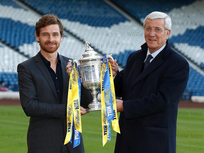 Andre Villas-Boas and Marcello Lippi make the draw for the 5th round of the William Hill Scottish Cup